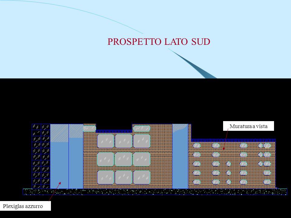 PROSPETTO LATO SUD Muratura a vista Plexiglas azzurro