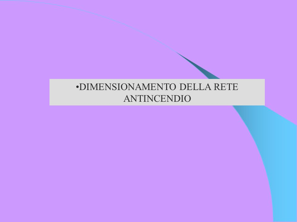 DIMENSIONAMENTO DELLA RETE ANTINCENDIO