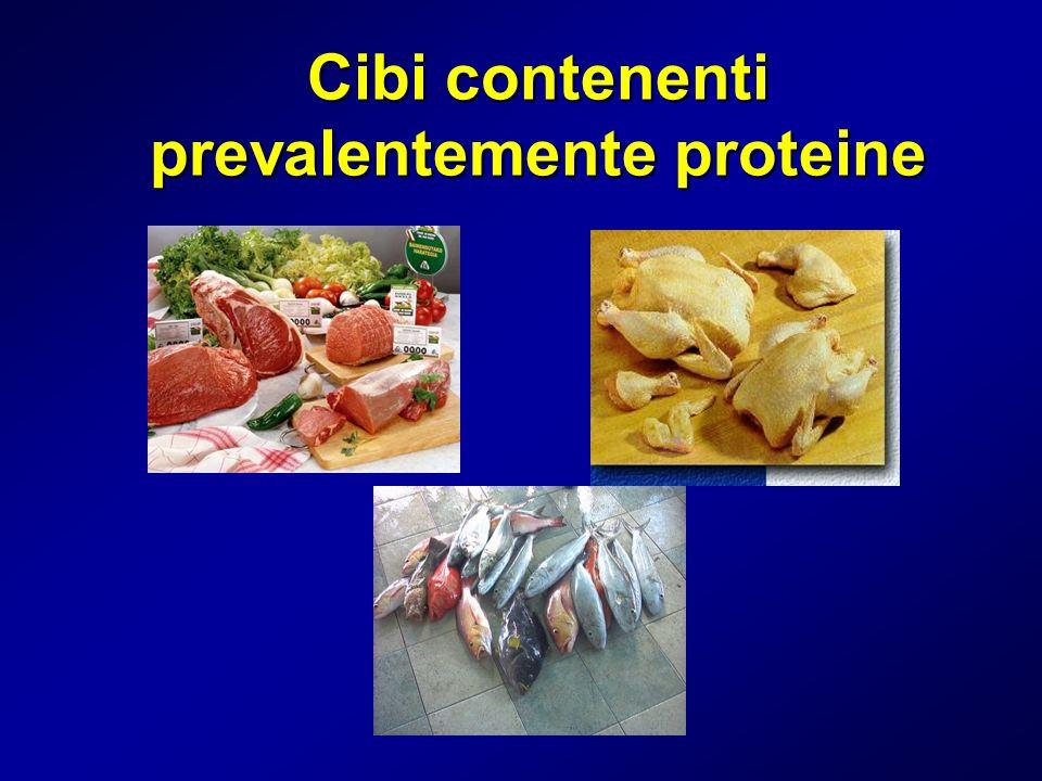 Cibi contenenti prevalentemente proteine