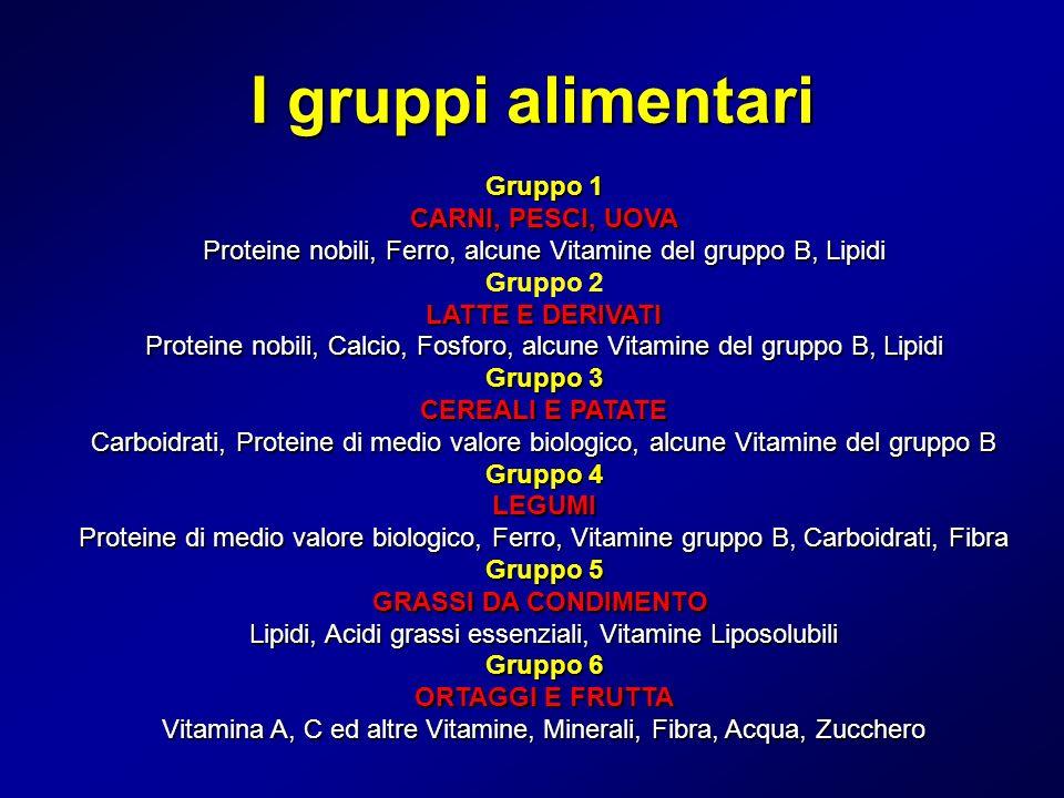 I gruppi alimentari Gruppo 1 CARNI, PESCI, UOVA Proteine nobili, Ferro, alcune Vitamine del gruppo B, Lipidi.