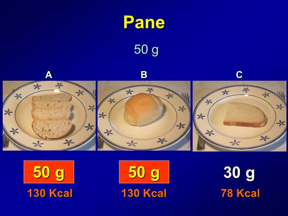 Pane 50 g A B C 50 g 50 g 30 g 130 Kcal 130 Kcal 78 Kcal