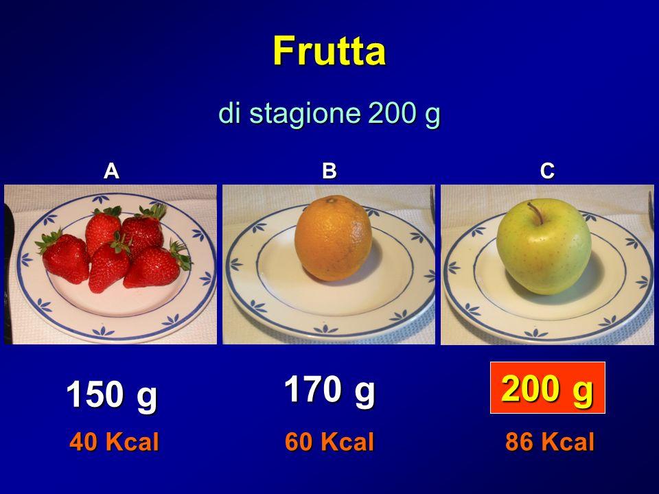 Frutta 170 g 200 g 150 g di stagione 200 g 40 Kcal 60 Kcal 86 Kcal A B