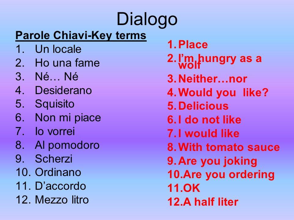 Dialogo Parole Chiavi-Key terms Un locale Ho una fame Né… Né