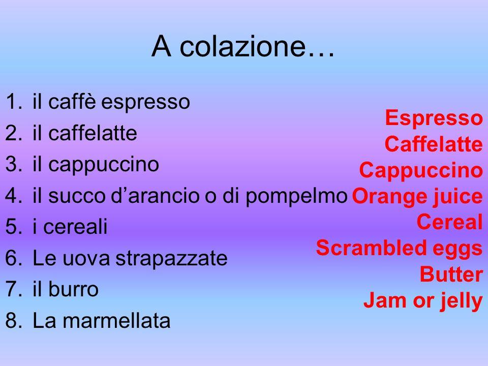 A colazione… il caffè espresso il caffelatte Espresso il cappuccino