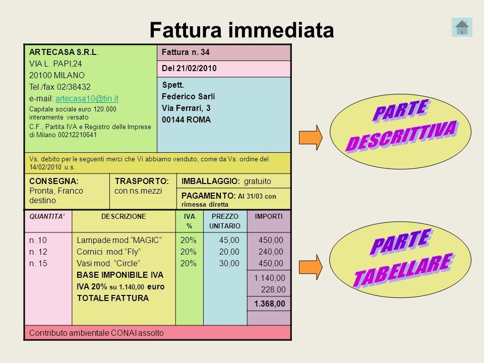 Fattura immediata PARTE DESCRITTIVA PARTE TABELLARE ARTECASA S.R.L.