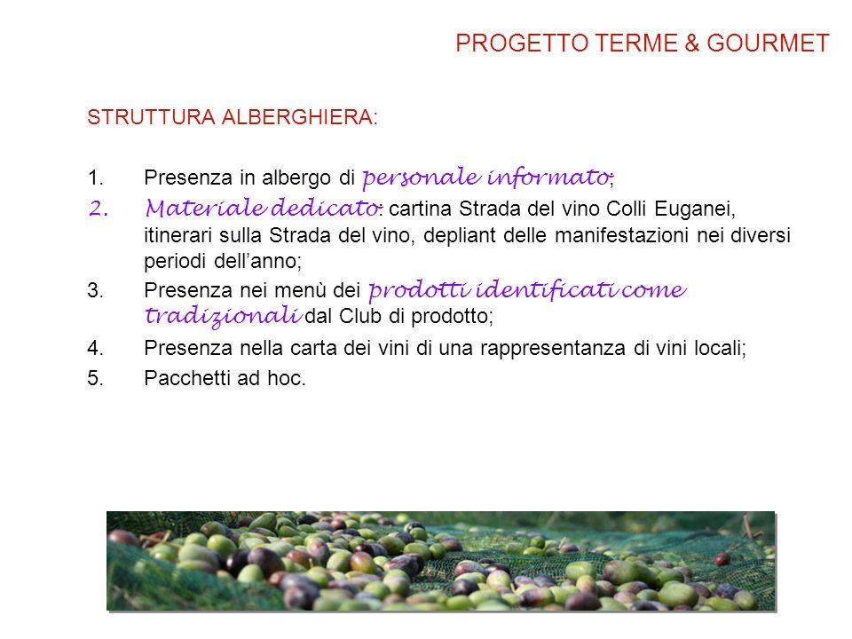PROGETTO TERME & GOURMET