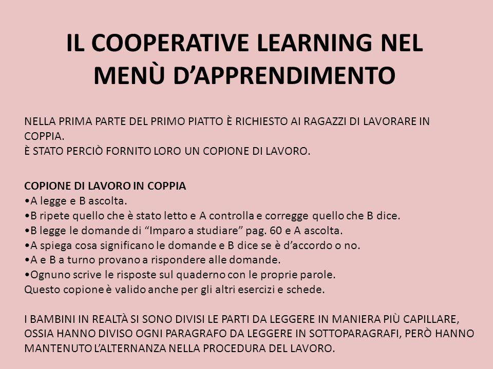 IL COOPERATIVE LEARNING NEL MENÙ D'APPRENDIMENTO