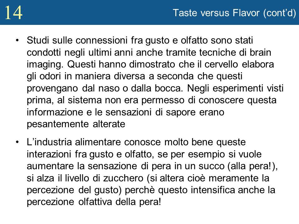 Taste versus Flavor (cont'd)