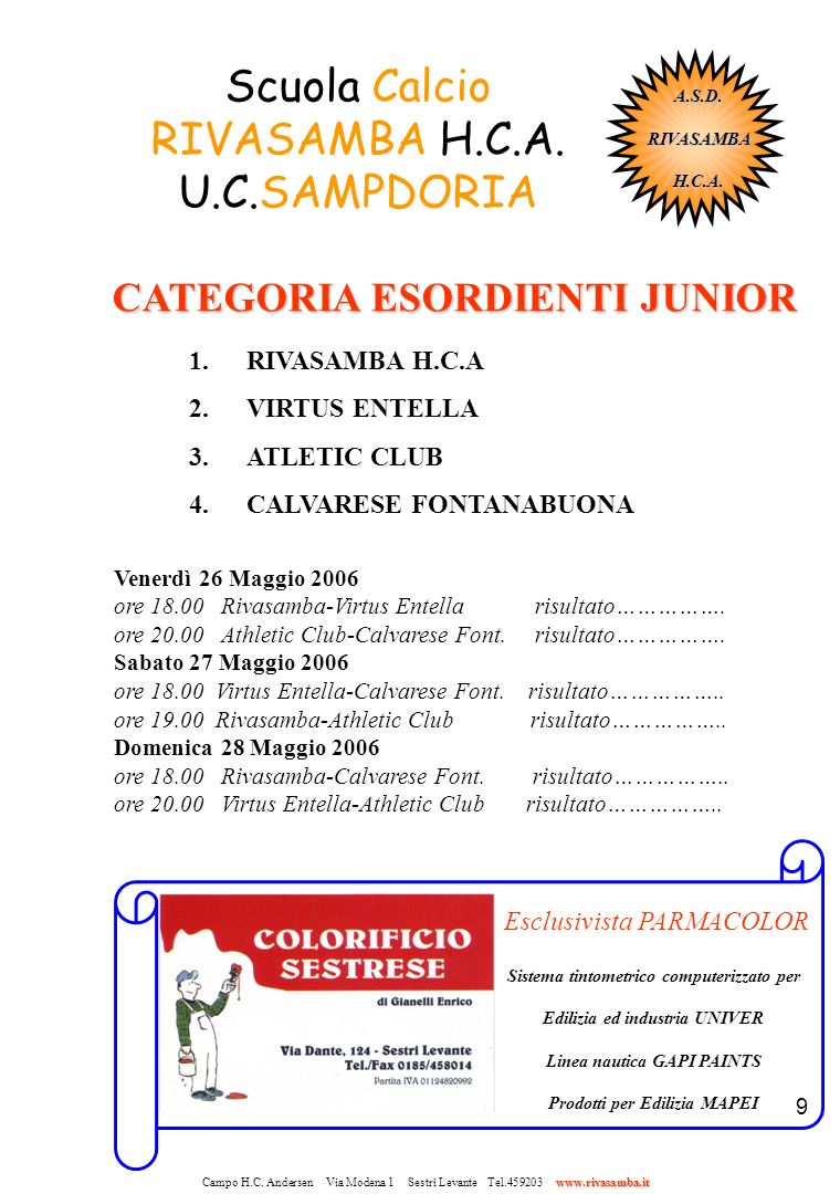 Scuola Calcio RIVASAMBA H.C.A. U.C.SAMPDORIA