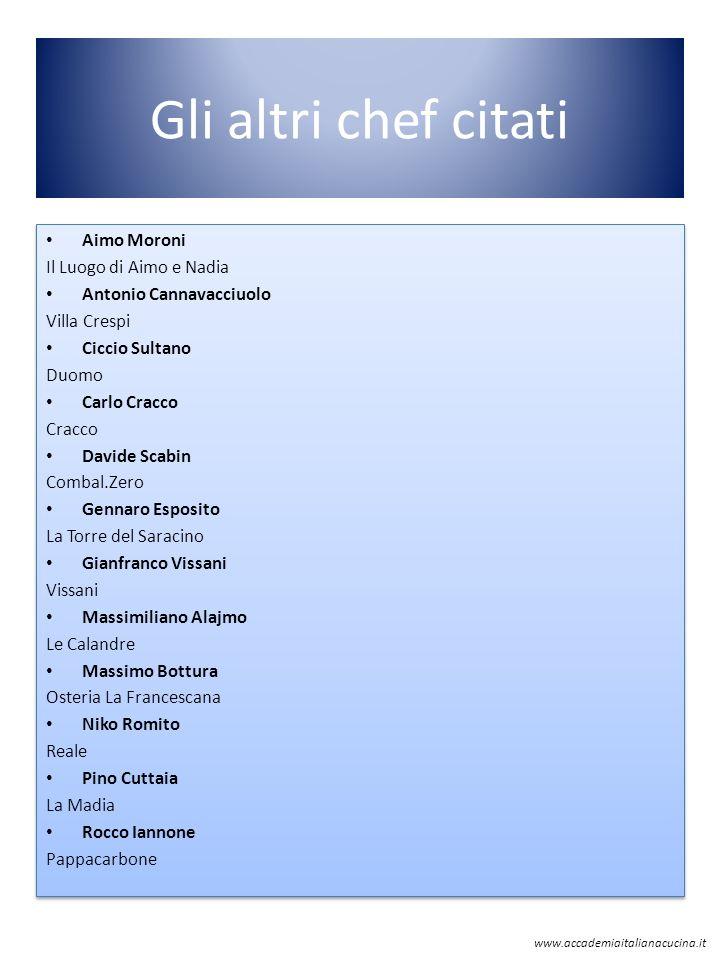 Gli altri chef citati Aimo Moroni Il Luogo di Aimo e Nadia