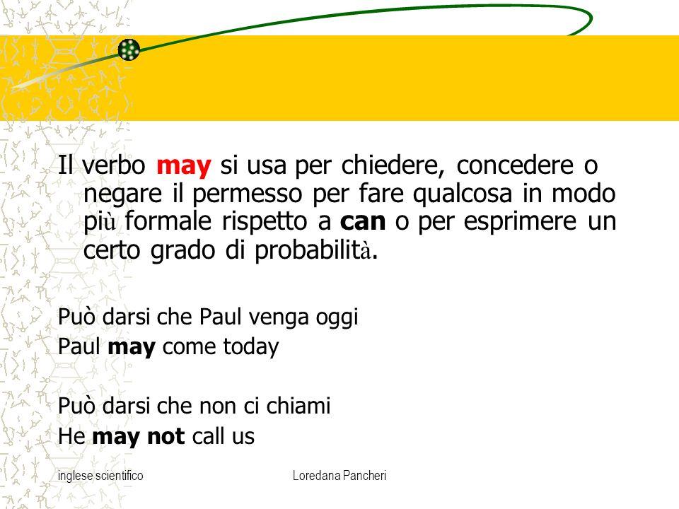 Il verbo may si usa per chiedere, concedere o negare il permesso per fare qualcosa in modo più formale rispetto a can o per esprimere un certo grado di probabilità.