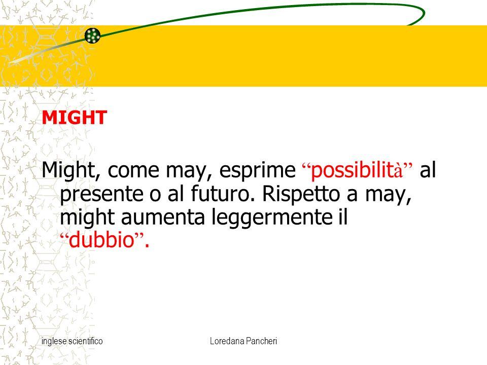MIGHT Might, come may, esprime possibilità al presente o al futuro. Rispetto a may, might aumenta leggermente il dubbio .