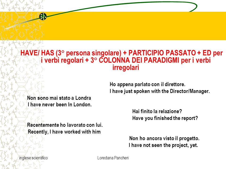 HAVE/ HAS (3° persona singolare) + PARTICIPIO PASSATO + ED per i verbi regolari + 3° COLONNA DEI PARADIGMI per i verbi irregolari