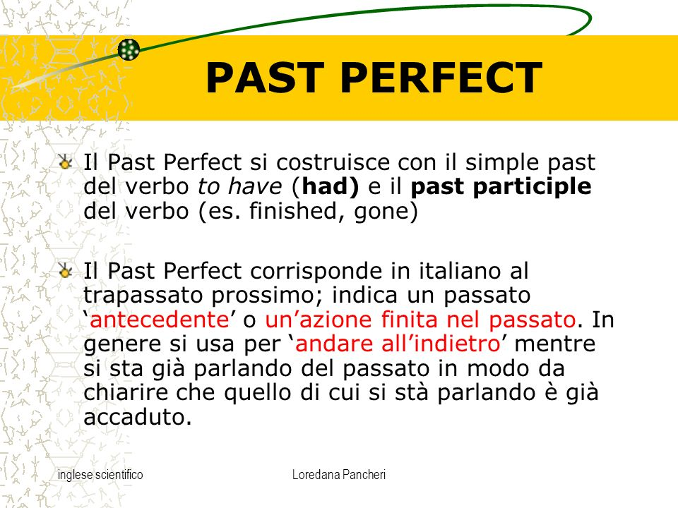 PAST PERFECT Il Past Perfect si costruisce con il simple past del verbo to have (had) e il past participle del verbo (es. finished, gone)