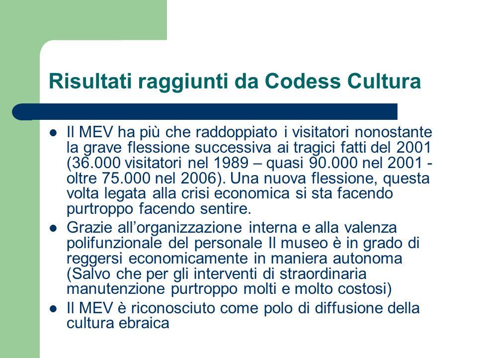 Risultati raggiunti da Codess Cultura