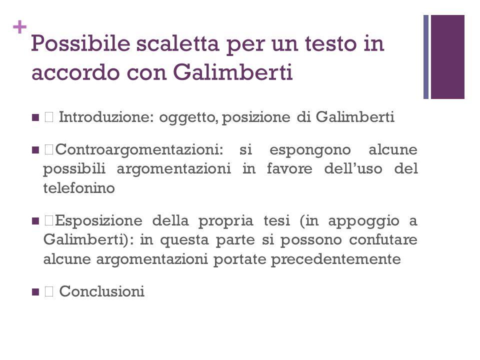 Possibile scaletta per un testo in accordo con Galimberti