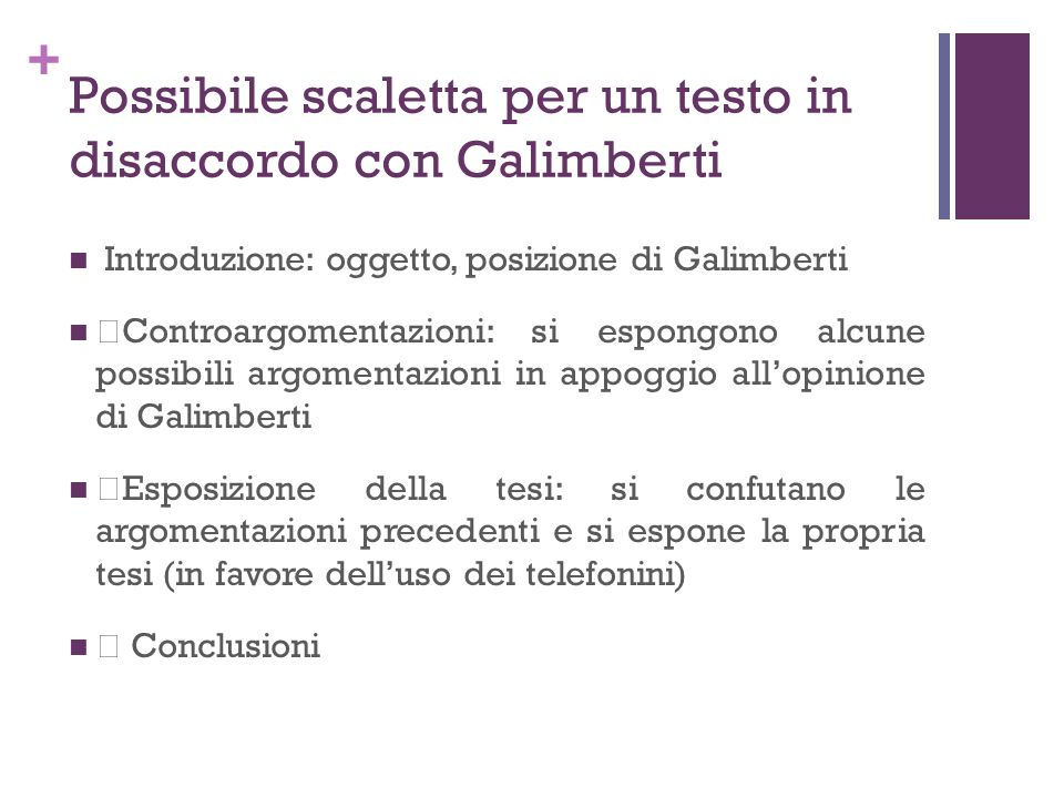 Possibile scaletta per un testo in disaccordo con Galimberti