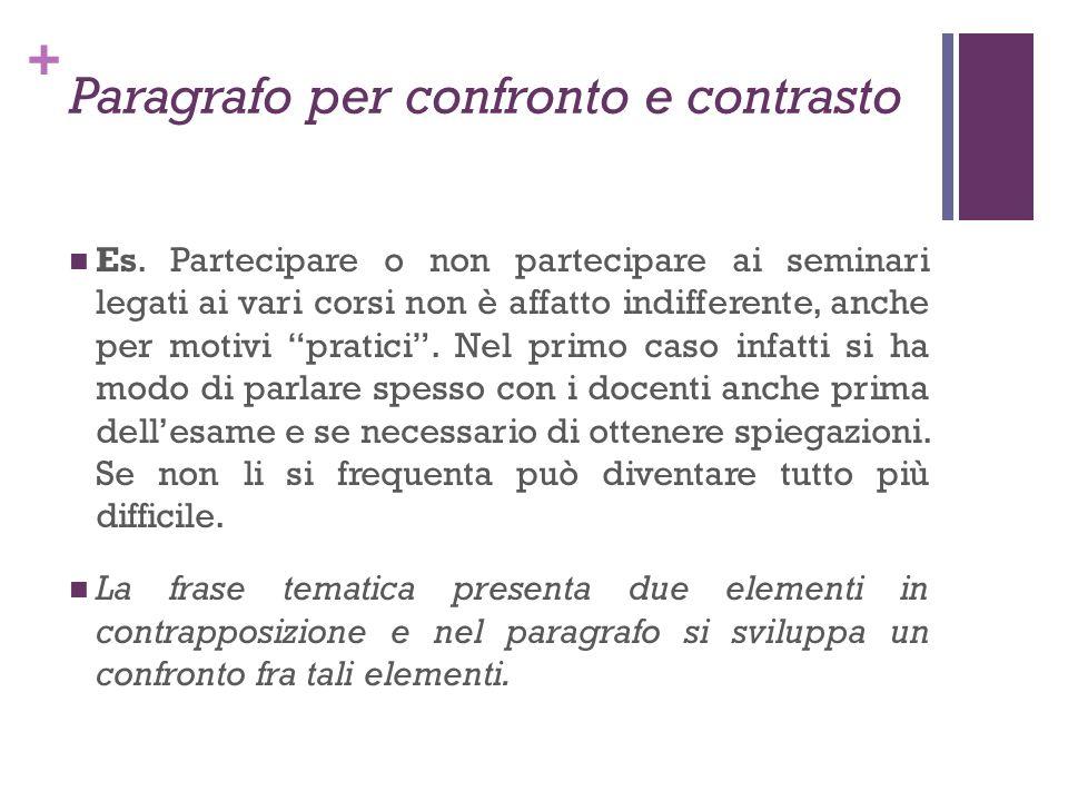 Paragrafo per confronto e contrasto