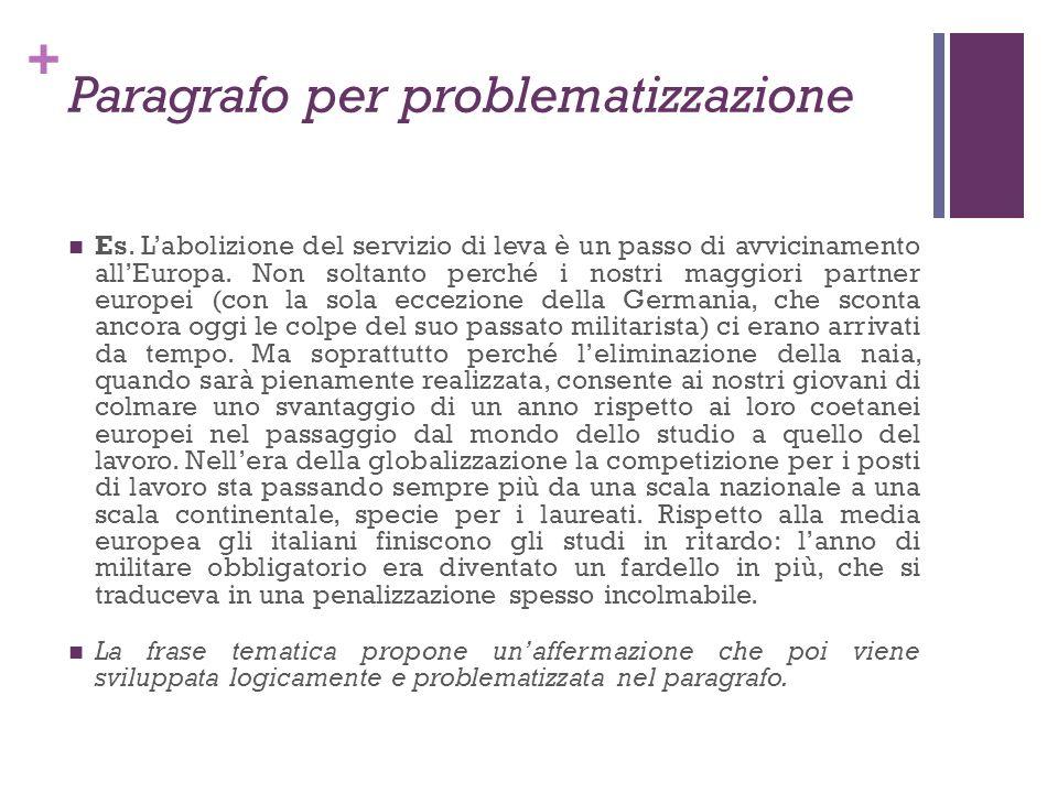Paragrafo per problematizzazione