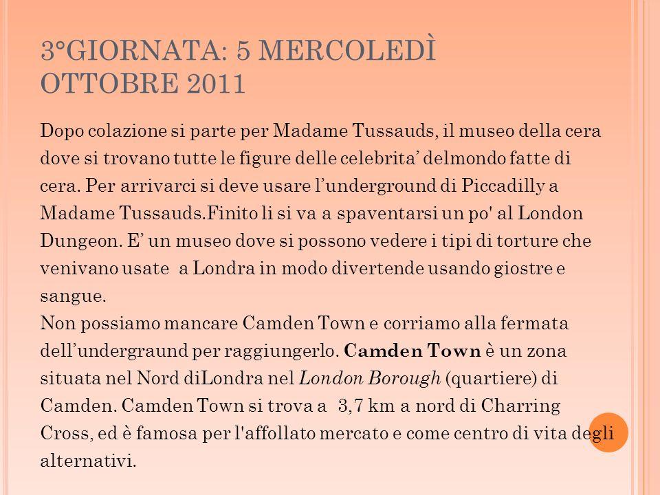 3°GIORNATA: 5 MERCOLEDÌ OTTOBRE 2011