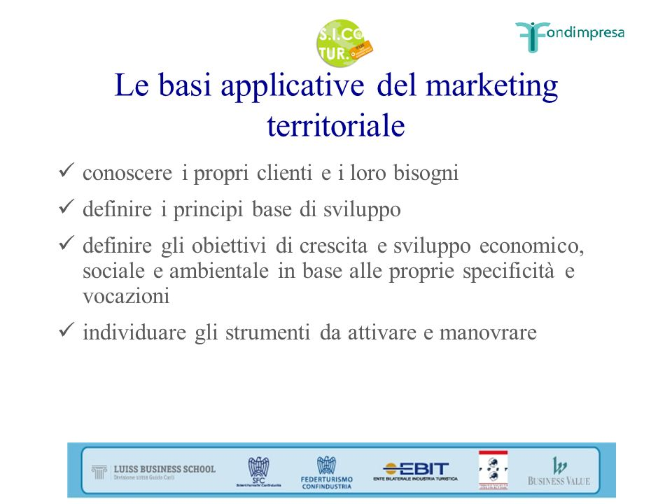 Le basi applicative del marketing territoriale