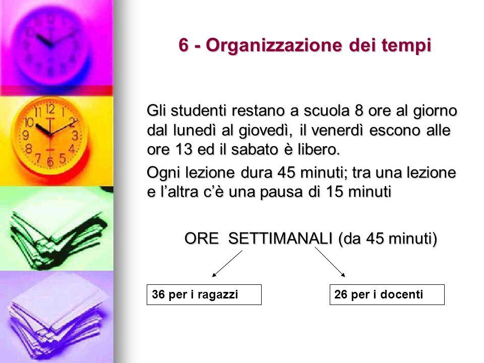 6 - Organizzazione dei tempi