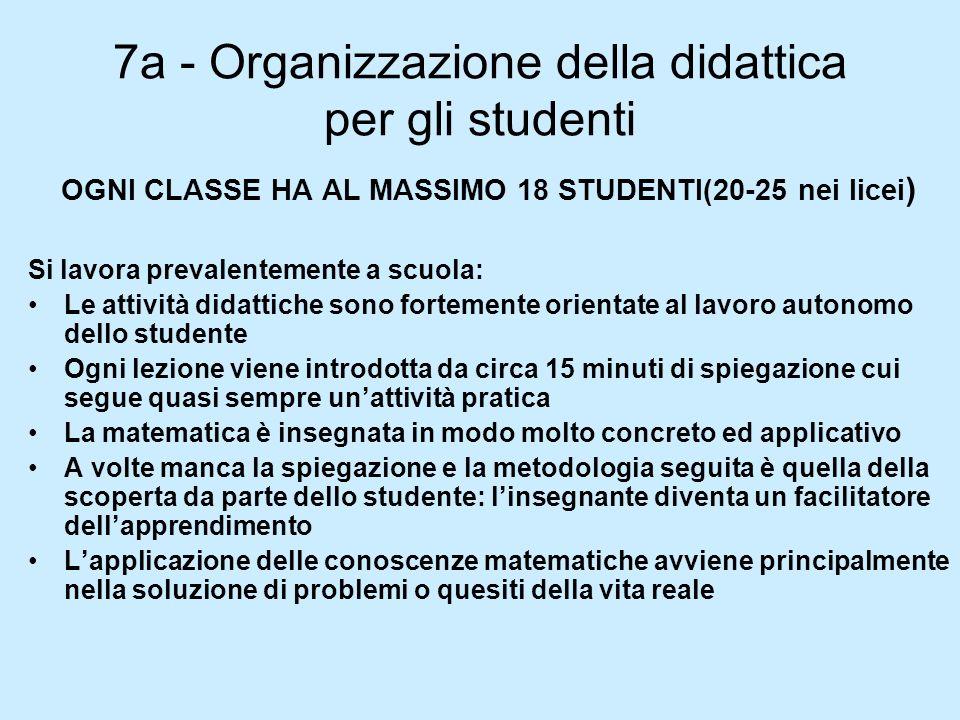7a - Organizzazione della didattica per gli studenti
