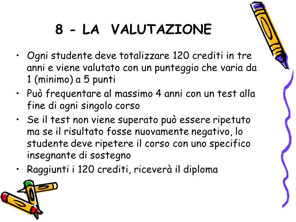8 - LA VALUTAZIONE Ogni studente deve totalizzare 120 crediti in tre anni e viene valutato con un punteggio che varia da 1 (minimo) a 5 punti.