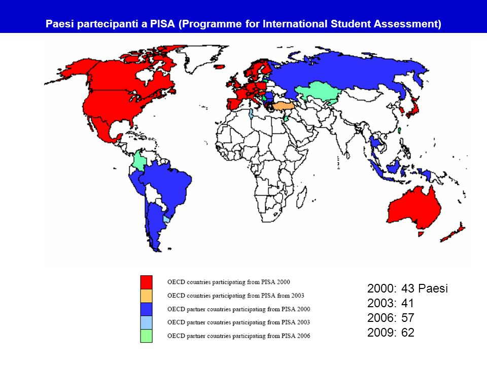 Paesi partecipanti a PISA (Programme for International Student Assessment)