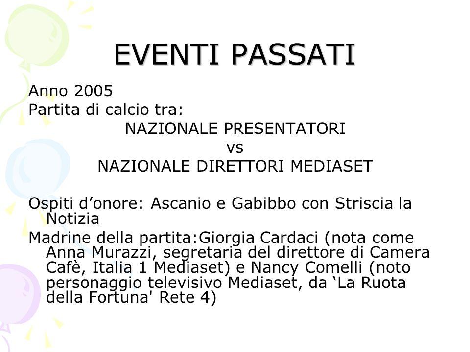 EVENTI PASSATI Anno 2005 Partita di calcio tra: NAZIONALE PRESENTATORI
