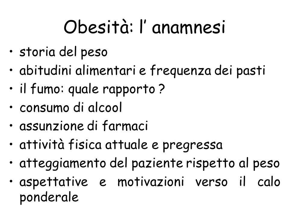 Obesità: l' anamnesi storia del peso