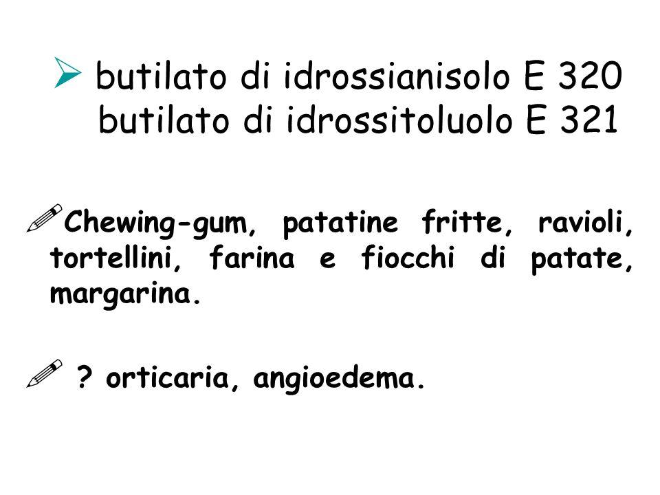 butilato di idrossianisolo E 320 butilato di idrossitoluolo E 321