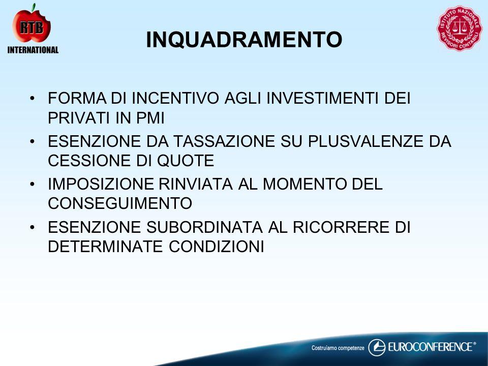 INQUADRAMENTO FORMA DI INCENTIVO AGLI INVESTIMENTI DEI PRIVATI IN PMI