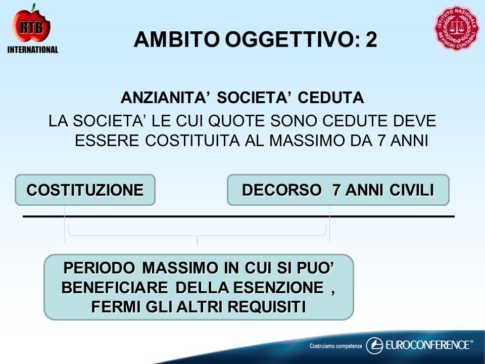 AMBITO OGGETTIVO: 2 ANZIANITA' SOCIETA' CEDUTA LA SOCIETA' LE CUI QUOTE SONO CEDUTE DEVE ESSERE COSTITUITA AL MASSIMO DA 7 ANNI