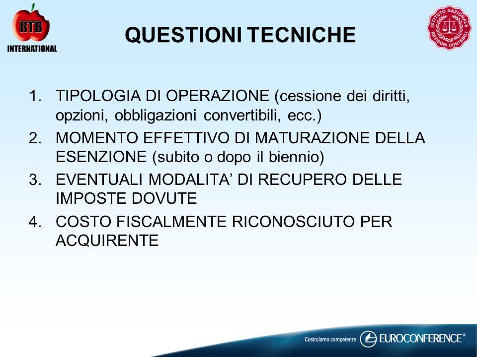 QUESTIONI TECNICHE TIPOLOGIA DI OPERAZIONE (cessione dei diritti, opzioni, obbligazioni convertibili, ecc.)