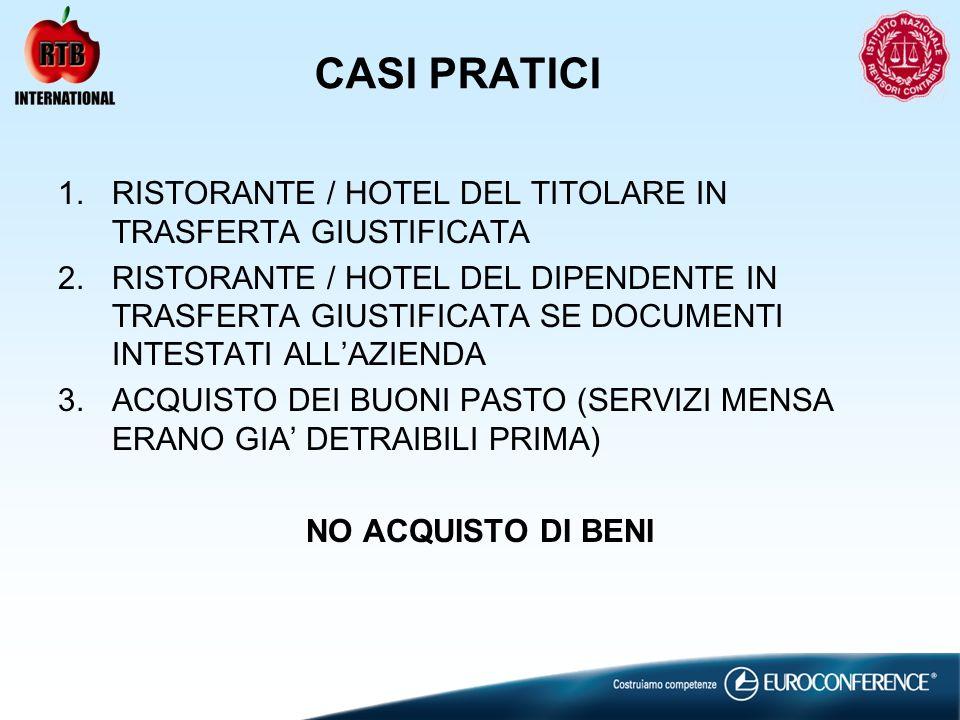CASI PRATICI RISTORANTE / HOTEL DEL TITOLARE IN TRASFERTA GIUSTIFICATA