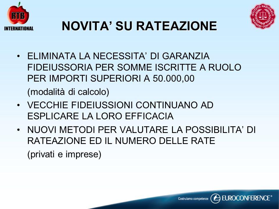 NOVITA' SU RATEAZIONE ELIMINATA LA NECESSITA' DI GARANZIA FIDEIUSSORIA PER SOMME ISCRITTE A RUOLO PER IMPORTI SUPERIORI A 50.000,00.