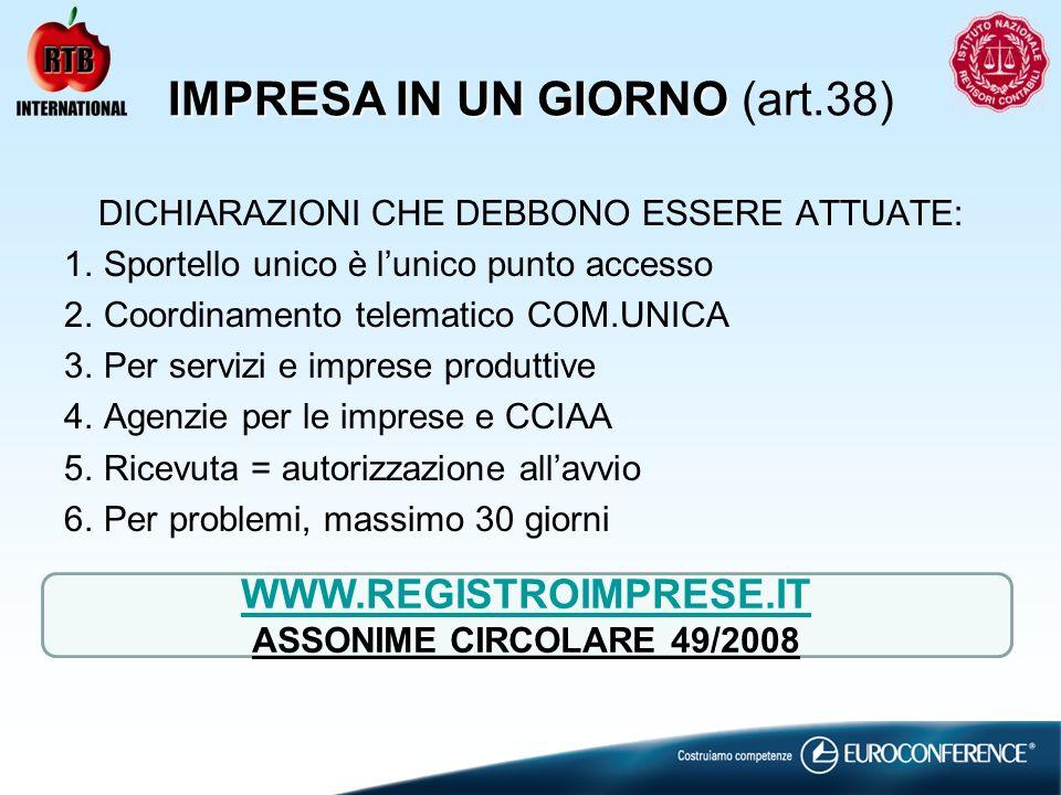 IMPRESA IN UN GIORNO (art.38)