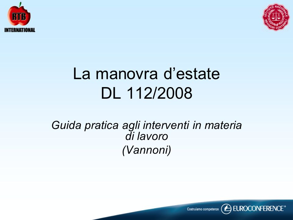 La manovra d'estate DL 112/2008