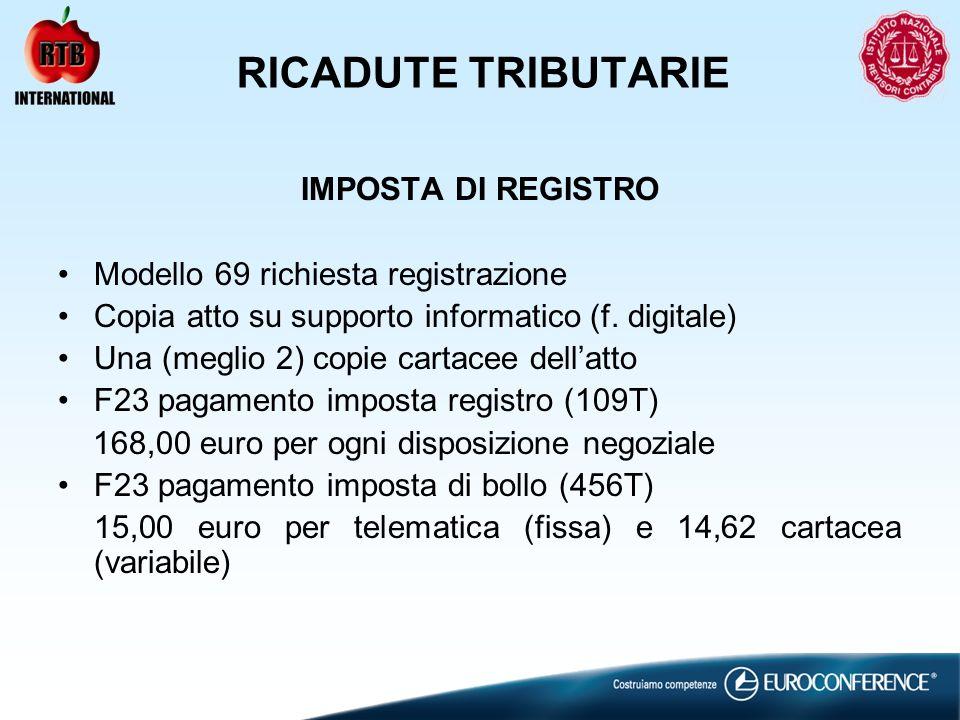 RICADUTE TRIBUTARIE IMPOSTA DI REGISTRO