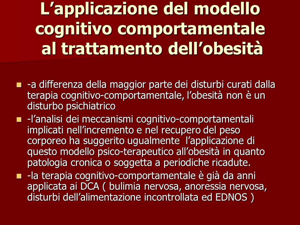 L'applicazione del modello cognitivo comportamentale al trattamento dell'obesità