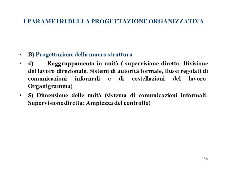 I PARAMETRI DELLA PROGETTAZIONE ORGANIZZATIVA