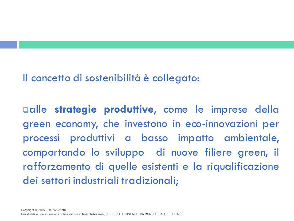 Il concetto di sostenibilità è collegato:
