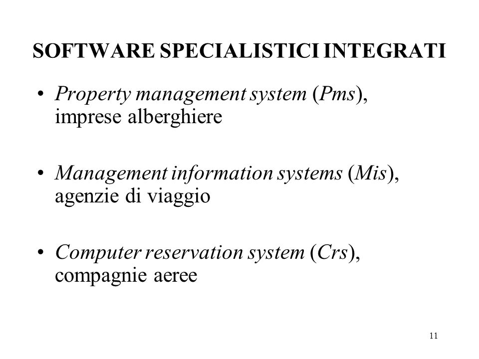 SOFTWARE SPECIALISTICI INTEGRATI