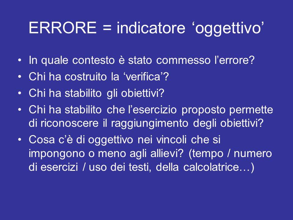 ERRORE = indicatore 'oggettivo'
