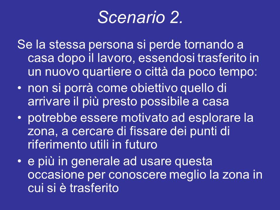 Scenario 2. Se la stessa persona si perde tornando a casa dopo il lavoro, essendosi trasferito in un nuovo quartiere o città da poco tempo: