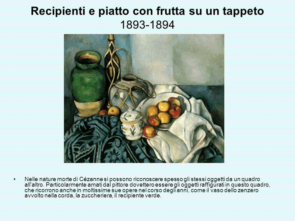 Recipienti e piatto con frutta su un tappeto 1893-1894