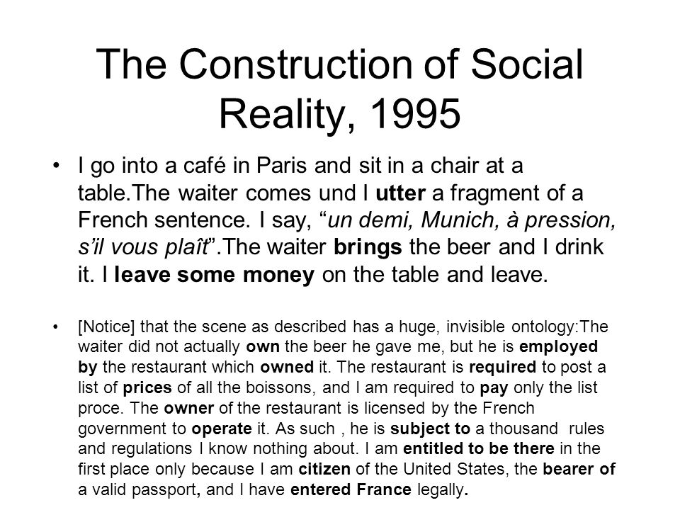 The Construction of Social Reality, 1995