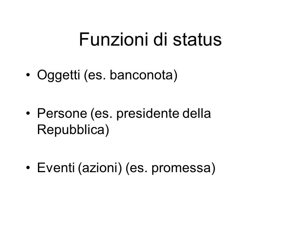 Funzioni di status Oggetti (es. banconota)