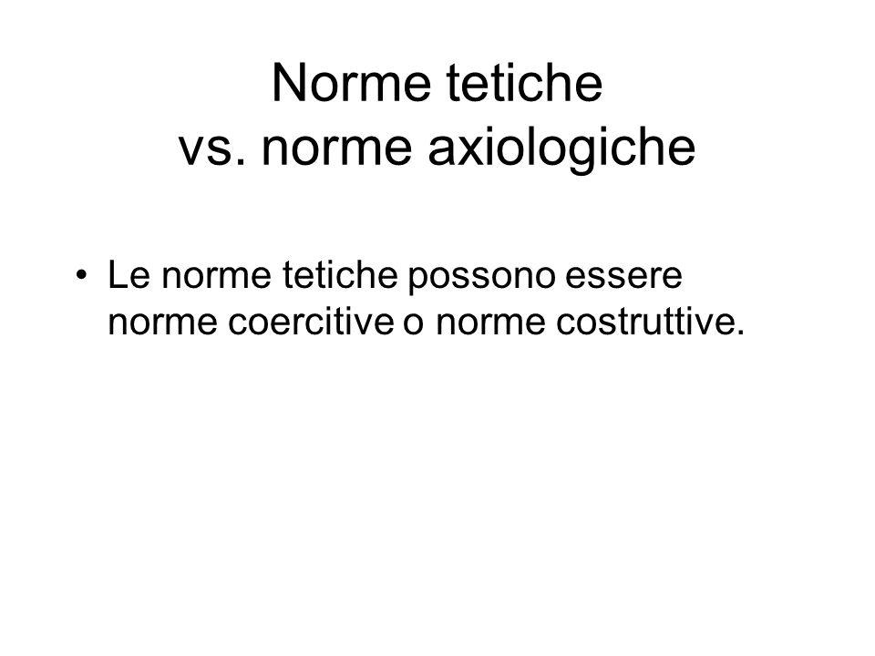 Norme tetiche vs. norme axiologiche